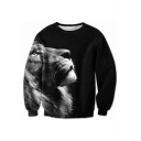 New Arrival 3D Lion Printed Round Neck Long Sleeve Unisex Oversize Sweatshirt
