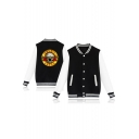 Letter Printed Color Block Stand Up Collar Long Sleeve Buttons Down Baseball Jacket