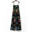 Chic Floral Pattern Spaghetti Straps Holiday Wide Legs Beach Jumpsuits