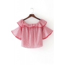 New Stylish Ruffle Hem Boat Neck Short Sleeve Striped Printed Cropped Blouse