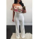 Chic Floral Embroidered Off The Shoulder Short Sleeve Jumpsuits