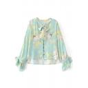 Crane Floral Printed V-Neck Bell Long Sleeve Single Breasted Shirt