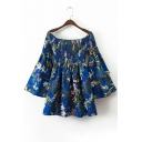New Fashion Boat Neck Long Sleeve Flared Sleeve Floral Print Mini A-Line Dress