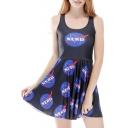Letter Logo Printed Scoop Neck Sleeveless Mini A-Line Skater Dress