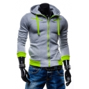 New Fashion Color Block Long Sleeve Casual Leisure Zip Up Hoodie