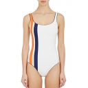 Fashion Color Block Striped Side One-Piece Swimwear