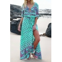 Hot Fashion Boho Style Plunge Neck Buttons Down Split Front Maxi Beach Dress