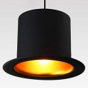Contemporary Top Hat Pendant Light in Black Finish, 10'' Wide