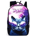 New Arrival Galaxy Cartoon Cat Letter Printed Outdoor Backpack