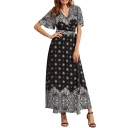 New Fashion Boho Style Plunge Neck Short Sleeve Beach Holiday Maxi Wrap Dress