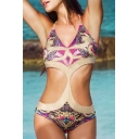 Tribal Printed Halter Neck Sexy Cut Out Waist One Piece Swimwear