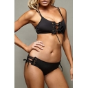 Women's Lace Up Spaghetti Straps Plain Swimwear Sets