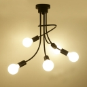 Industrial Semi Flush Mount Ceiling Light  in Wrought Iron Edison Bulb Style, 5 Lights in Metal Black