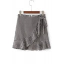 Chic Ruffle Hem Classic Plaids Printed Zip Back Mini Skirt