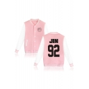 Couple Single Breasted Contrast Long Sleeve Stand-Up Collar Letter Printed Bomber Jacket