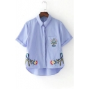 Striped Printed Floral Embroidered Lapel Collar Short Sleeve High Low Shirt