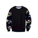 New Arrival Floral Printed Round Neck Long Sleeve Pullover Casual Sweatshirt
