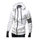 Unisex Drawstring Hooded Striped Long Sleeve Zip Up Hoodie Sweatshirt
