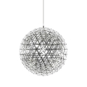 LED Chrome Ball Pendant Light in Stainless Steel, 8'' Width 18 Lights