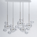Globe  Linear Suspension With Brass Stem Glass