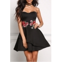 Chic Floral Embroidered Sleeveless Bandeau Mini A-Line Evening Dress