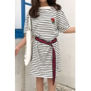 Fashion Embroidery Floral Striped Short Sleeve Round Neck T-Shirt Dress with Belt