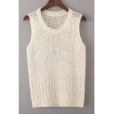 Round Neck Sleeveless Crochet Hollow Out Plain Knit Tank