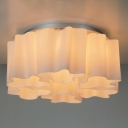 Floral Frosted Blown White Glass Semi-Flush Mount Light, 6 Lights