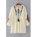 Women's Lantern Long Sleeve Round Neck Embroidery Floral Mini Peasant Dress