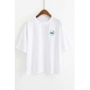 NASA Letter Embroidered Round Neck Short Sleeve Pullover Casual T-Shirt