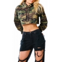 Hot Fashion Long Sleeve Color Block Camouflage Printed Cropped Hoodie