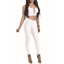 Grommet Lace-Up Scoop Neck Plain Cropped Tank Top with Skinny Pants