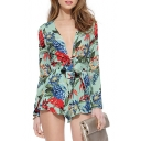 New Arrival Plunge Neck Foliage Printed Long Sleeve High Rise Casual Rompers