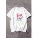 Letter Girl Printed Round Neck Short Sleeve Pullover Loose T-Shirt