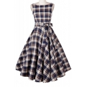 Hot Fashion Retro Plaids Printed Boat Neck Sleeveless Tie Waist Midi Fit & Flare Dress
