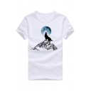 Funny Howling Wolf Printed Short Sleeve Round Neck Tee