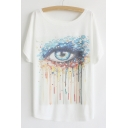 Fashion Cartoon Crying Eye Short Sleeve Round Neck Loose Tee