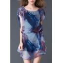 New Arrival Oversize Round Neck Short Sleeve Tie Dye Mini Asymmetrical Dress