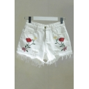 New Stylish Floral Embroidered Ripped Raw Edge Denim Hot Pants