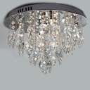 Grand Flush Mount Ceiling Light with Six Light  with Beautiful Crystal Falls Creating Glamorous Embellishment
