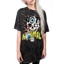 Oversize Loose Skull Letter Pattern Short Sleeve Round Neck Comfort T-Shirt