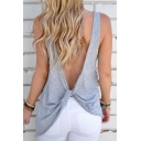New Arrival Sexy Hollow Out V Back Sleeveless Round Neck Plain Tank Tee