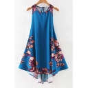 Elegant Sleeveless Round Neck Floral Printed High Low Hem Swing Dress
