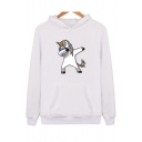 Funny Cartoon Unicorn Printed Long Sleeve Cotton Hoodie for Couple