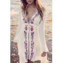 New Arrival Tribal Printed Floral Embroidered Plunge Neck Long Sleeve Cover Up Swimwear