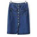New Arrival High Rise Buttons Down Midi Pencil Denim Skirt with Pockets