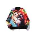 Color Block Lion 3D Printed Stand-Up Collar Single Breasted Bomber Jacket