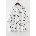 Hooded Long Sleeve Cartoon Cat Pattern Single Breasted Cotton Sun Coat