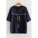 Casual Leisure Round Neck Short Sleeve Bow Design Cotton Pullover T-Shirt