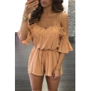 New Arrival Spaghetti Straps Lace Hollow Out Off The Shoulder Plain Rompers